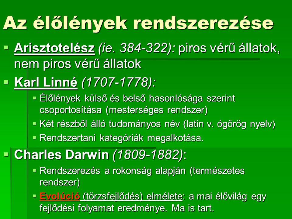 Az élőlények rendszerezése  Arisztotelész (ie. 384-322): piros vérű állatok, nem piros vérű állatok  Karl Linné (1707-1778):  Élőlények külső és be