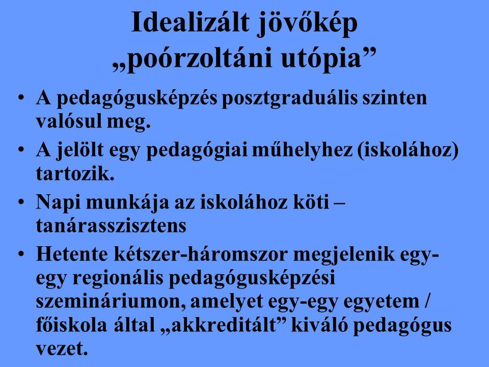 """Idealizált jövőkép """"poórzoltáni utópia A pedagógusképzés posztgraduális szinten valósul meg."""