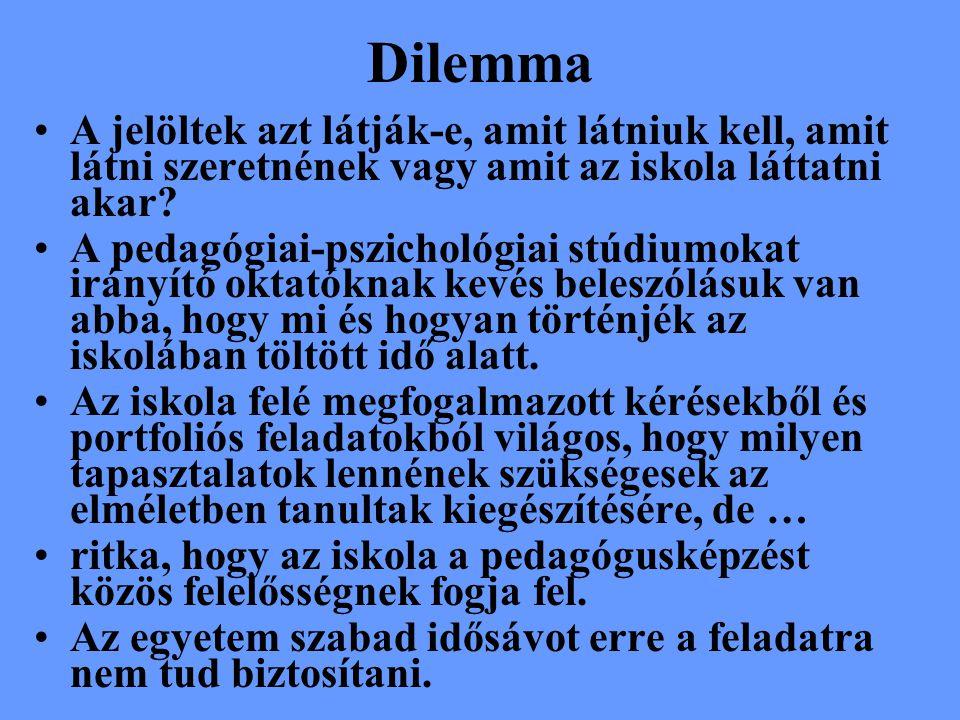 Dilemma A jelöltek azt látják-e, amit látniuk kell, amit látni szeretnének vagy amit az iskola láttatni akar.