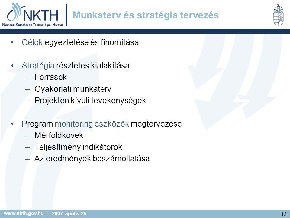 www.nkth.gov.hu | 13. 2007. április 25. Munkaterv és stratégia tervezés Célok egyeztetése és finomítása Stratégia részletes kialakítása –Források –Gya