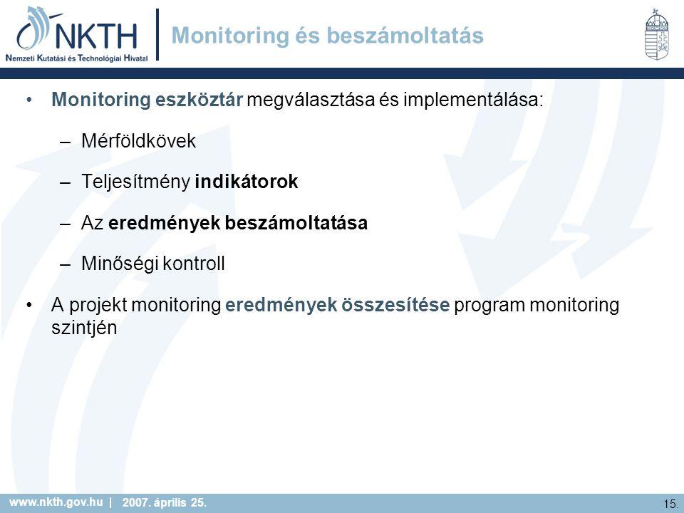 www.nkth.gov.hu | 15. 2007. április 25. Monitoring és beszámoltatás Monitoring eszköztár megválasztása és implementálása: –Mérföldkövek –Teljesítmény