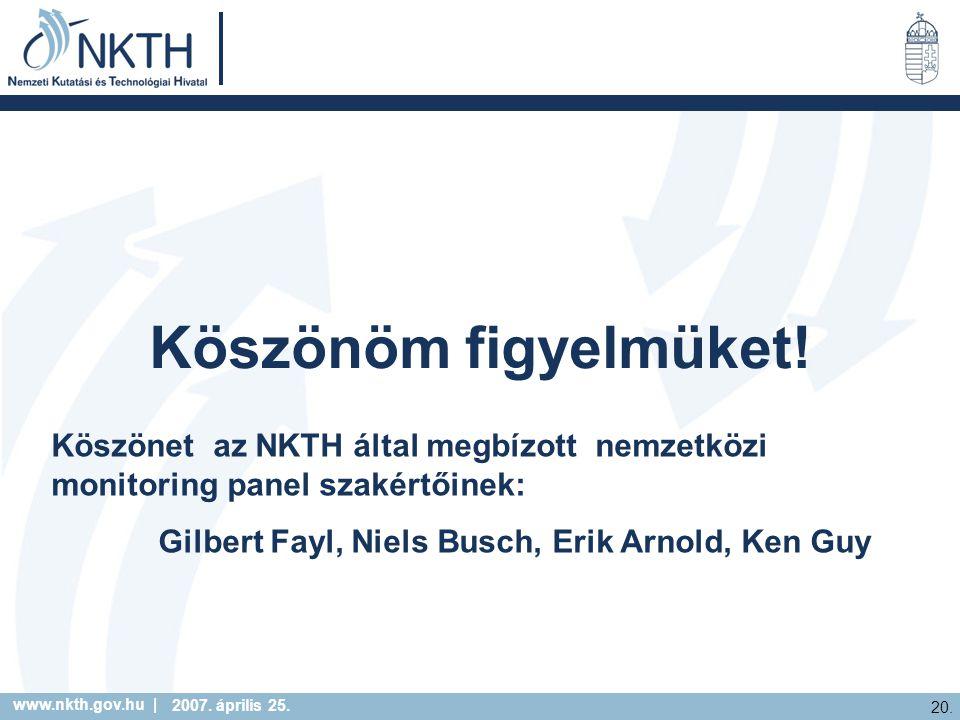 www.nkth.gov.hu | 20. 2007. április 25. Köszönöm figyelmüket! Köszönet az NKTH által megbízott nemzetközi monitoring panel szakértőinek: Gilbert Fayl,