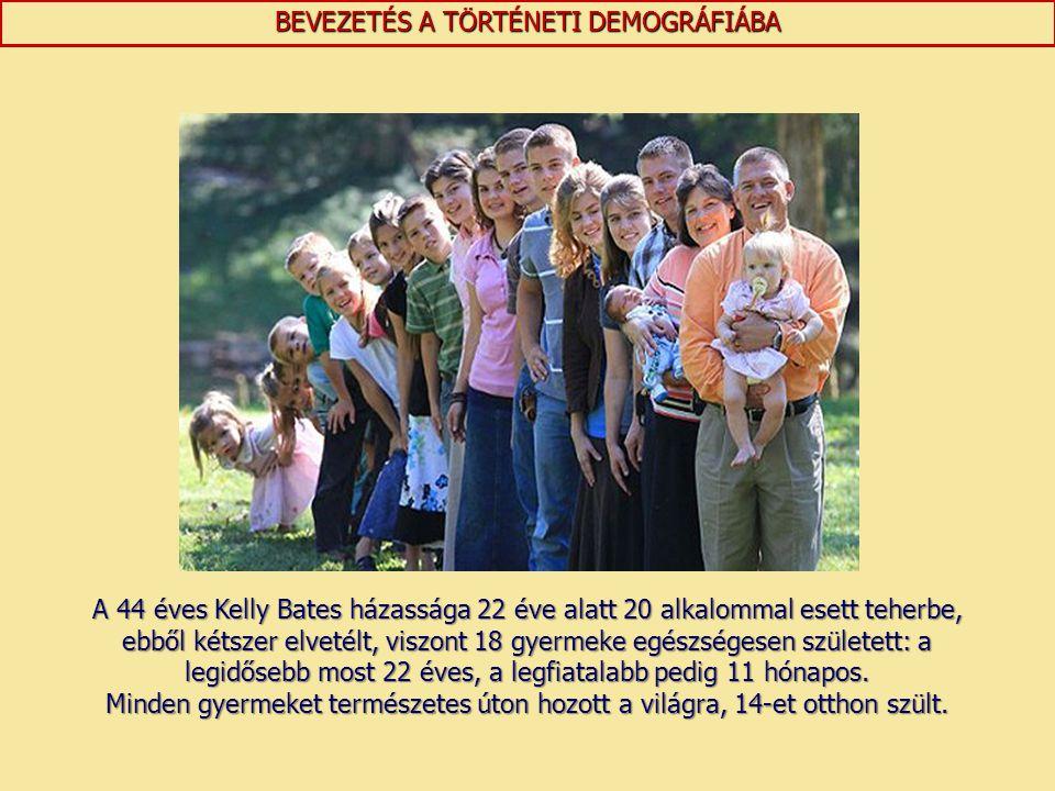 BEVEZETÉS A TÖRTÉNETI DEMOGRÁFIÁBA A 44 éves Kelly Bates házassága 22 éve alatt 20 alkalommal esett teherbe, ebből kétszer elvetélt, viszont 18 gyerme