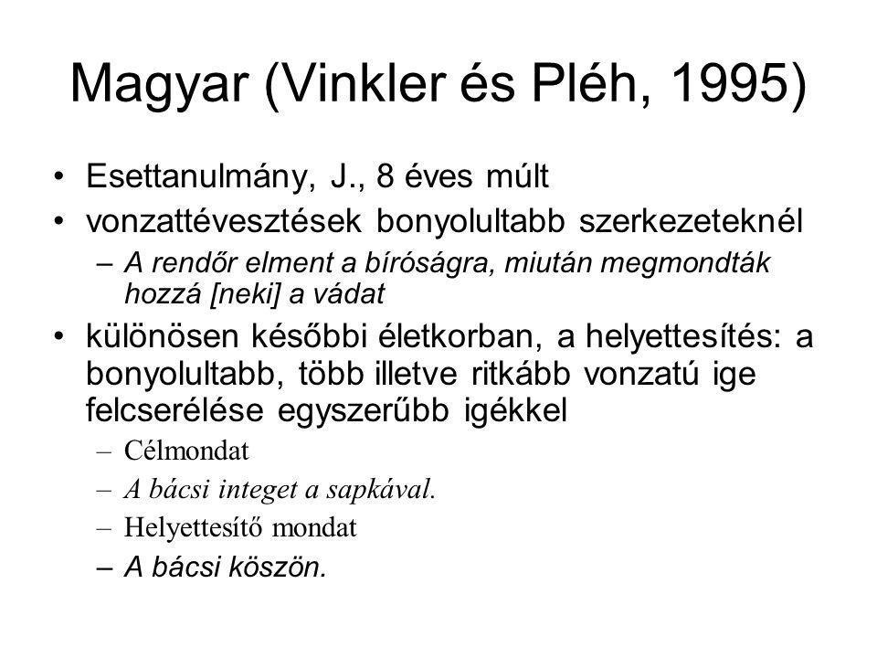 Magyar (Vinkler és Pléh, 1995) Esettanulmány, J., 8 éves múlt vonzattévesztések bonyolultabb szerkezeteknél –A rendőr elment a bíróságra, miután megmo
