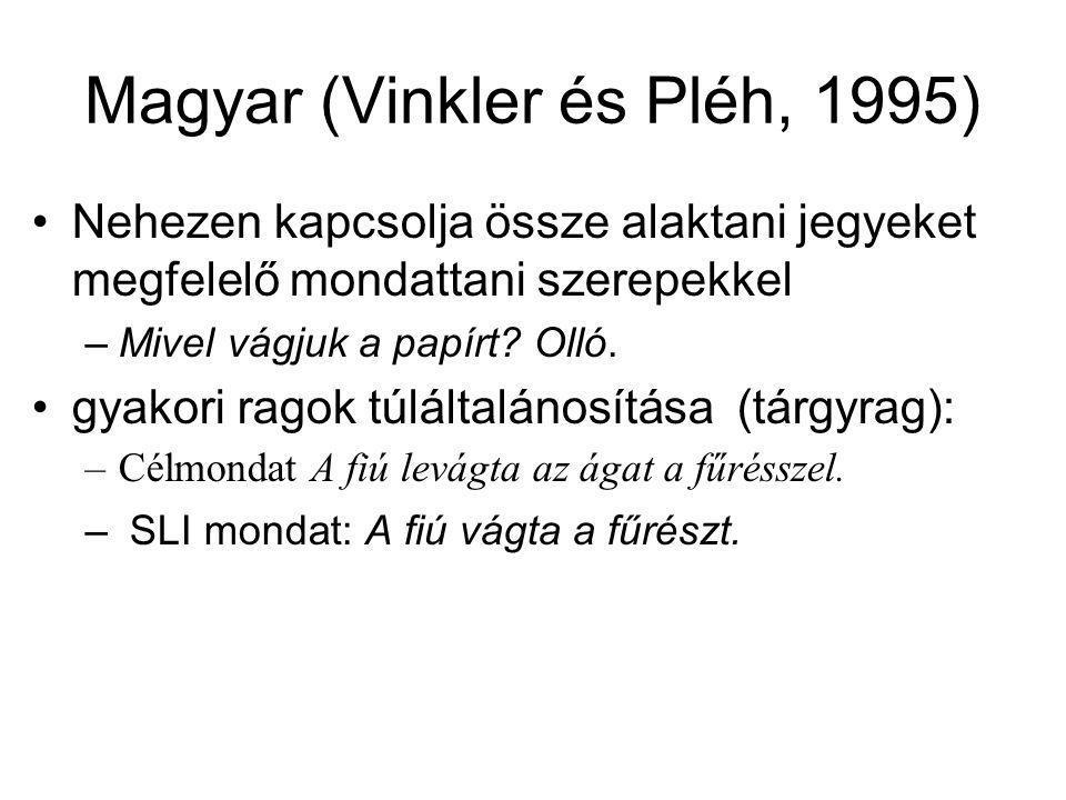 Magyar (Vinkler és Pléh, 1995) Nehezen kapcsolja össze alaktani jegyeket megfelelő mondattani szerepekkel –Mivel vágjuk a papírt? Olló. gyakori ragok