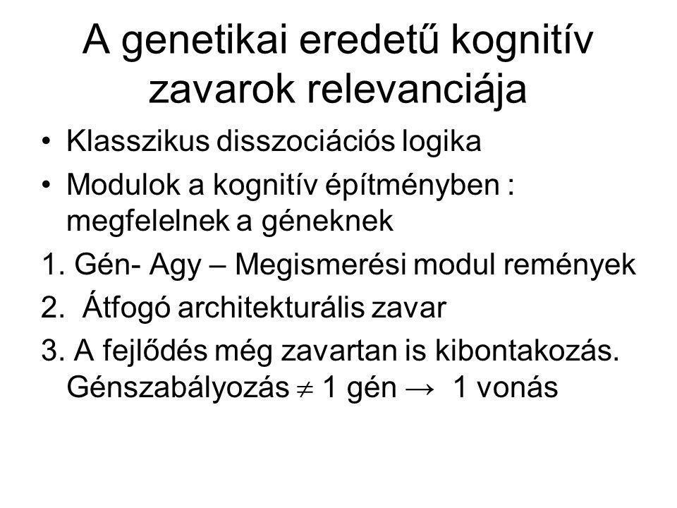 A genetikai eredetű kognitív zavarok relevanciája Klasszikus disszociációs logika Modulok a kognitív építményben : megfelelnek a géneknek 1. Gén- Agy