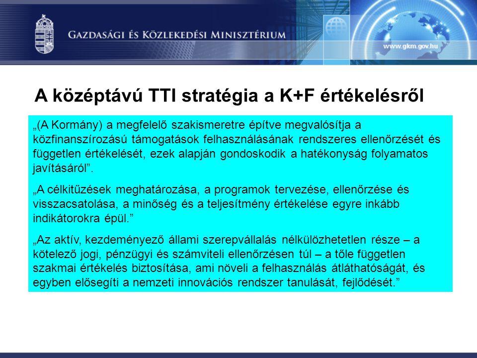 """A középtávú TTI stratégia a K+F értékelésről """"(A Kormány) a megfelelő szakismeretre építve megvalósítja a közfinanszírozású támogatások felhasználásán"""