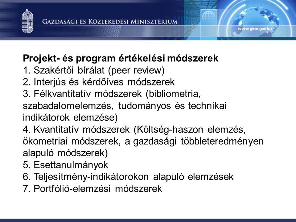 Projekt- és program értékelési módszerek 1. Szakértői bírálat (peer review) 2. Interjús és kérdőíves módszerek 3. Félkvantitatív módszerek (bibliometr