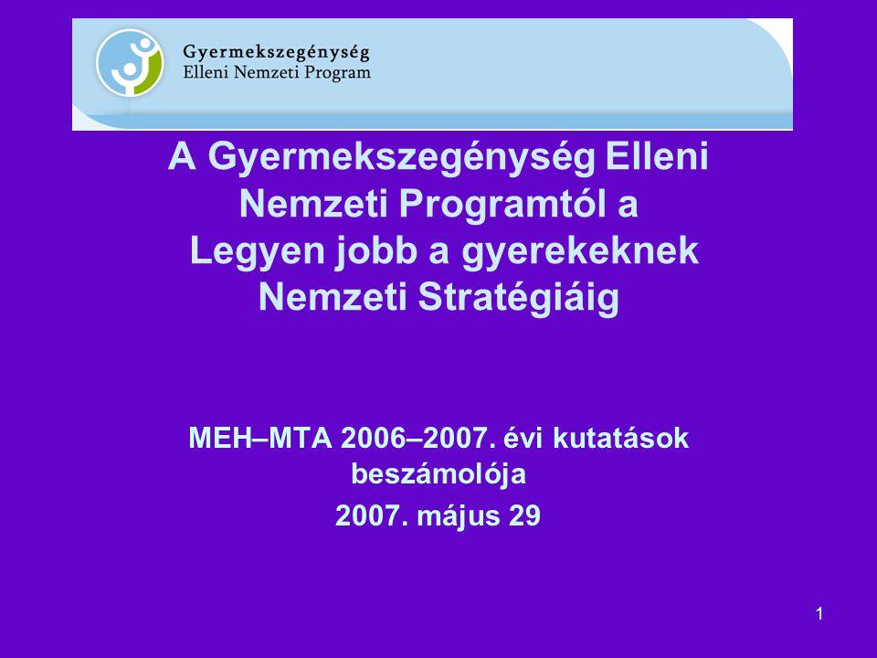 1 A Gyermekszegénység Elleni Nemzeti Programtól a Legyen jobb a gyerekeknek Nemzeti Stratégiáig MEH–MTA 2006–2007.