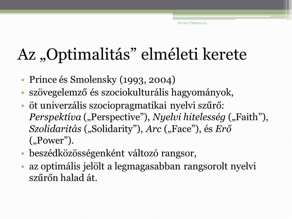 """Az """"Optimalitás elméleti kerete Prince és Smolensky (1993, 2004) szövegelemző és szociokulturális hagyományok, öt univerzális szociopragmatikai nyelvi szűrő: Perspektíva (""""Perspective ), Nyelvi hitelesség (""""Faith ), Szolidaritás (""""Solidarity ), Arc (""""Face ), és Erő (""""Power )."""