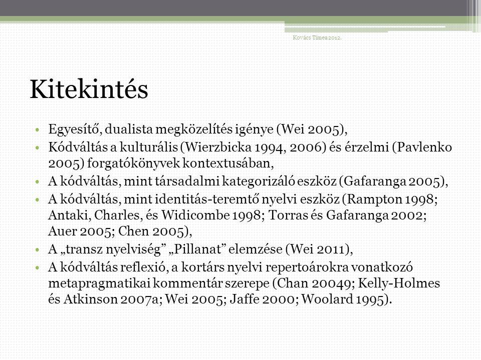 """Kitekintés Egyesítő, dualista megközelítés igénye (Wei 2005), Kódváltás a kulturális (Wierzbicka 1994, 2006) és érzelmi (Pavlenko 2005) forgatókönyvek kontextusában, A kódváltás, mint társadalmi kategorizáló eszköz (Gafaranga 2005), A kódváltás, mint identitás-teremtő nyelvi eszköz (Rampton 1998; Antaki, Charles, és Widicombe 1998; Torras és Gafaranga 2002; Auer 2005; Chen 2005), A """"transz nyelviség """"Pillanat elemzése (Wei 2011), A kódváltás reflexió, a kortárs nyelvi repertoárokra vonatkozó metapragmatikai kommentár szerepe (Chan 20049; Kelly-Holmes és Atkinson 2007a; Wei 2005; Jaffe 2000; Woolard 1995)."""