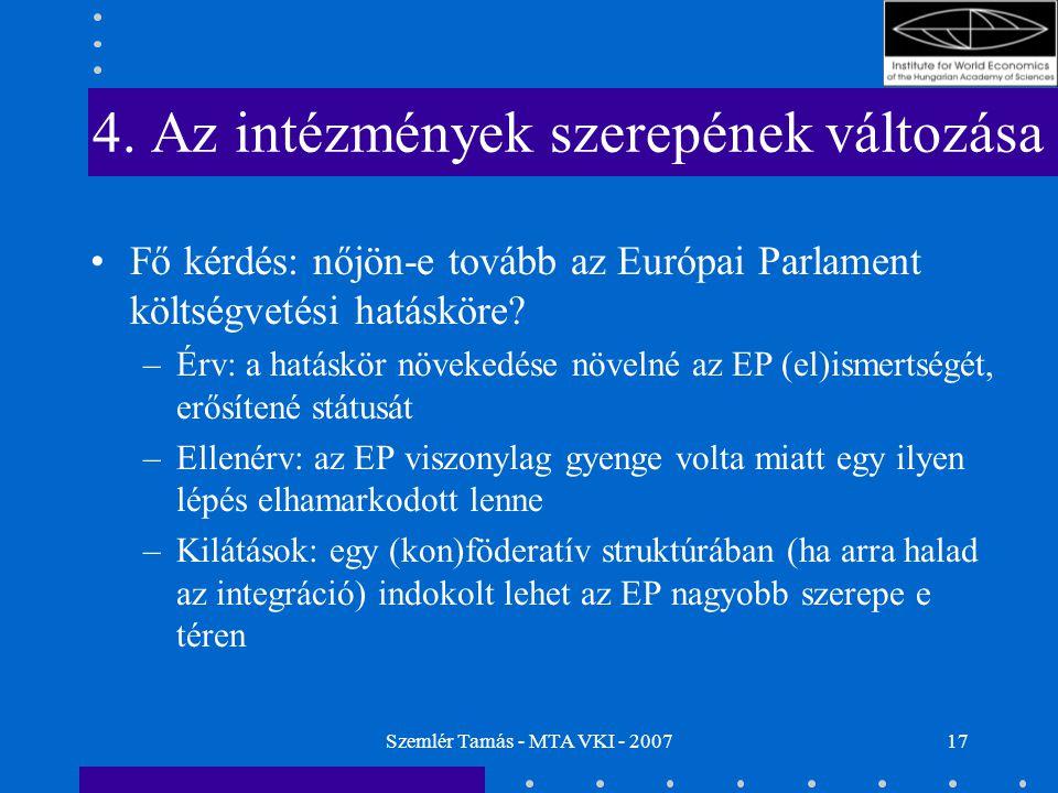 Szemlér Tamás - MTA VKI - 200717 4. Az intézmények szerepének változása Fő kérdés: nőjön-e tovább az Európai Parlament költségvetési hatásköre? –Érv: