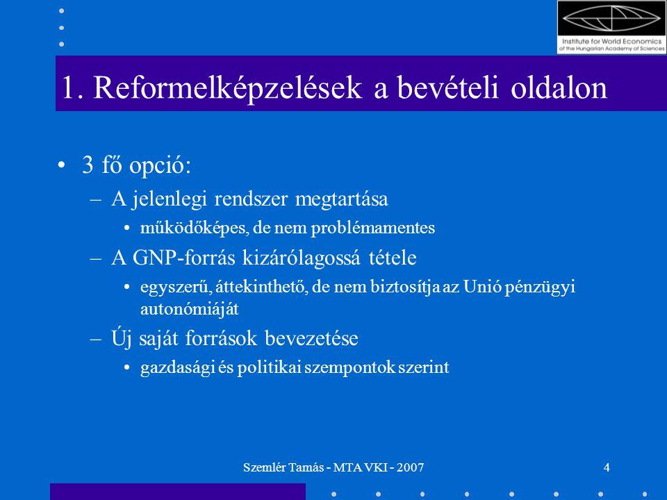 Szemlér Tamás - MTA VKI - 20074 1. Reformelképzelések a bevételi oldalon 3 fő opció: –A jelenlegi rendszer megtartása működőképes, de nem problémament
