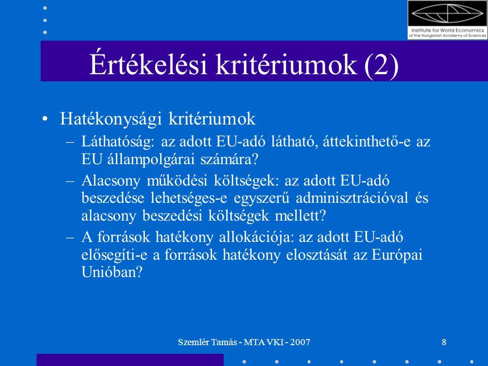 Szemlér Tamás - MTA VKI - 20078 Értékelési kritériumok (2) Hatékonysági kritériumok –Láthatóság: az adott EU-adó látható, áttekinthető-e az EU állampolgárai számára.