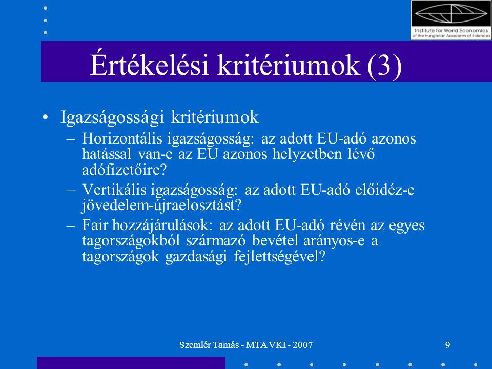 Szemlér Tamás - MTA VKI - 20079 Értékelési kritériumok (3) Igazságossági kritériumok –Horizontális igazságosság: az adott EU-adó azonos hatással van-e az EU azonos helyzetben lévő adófizetőire.