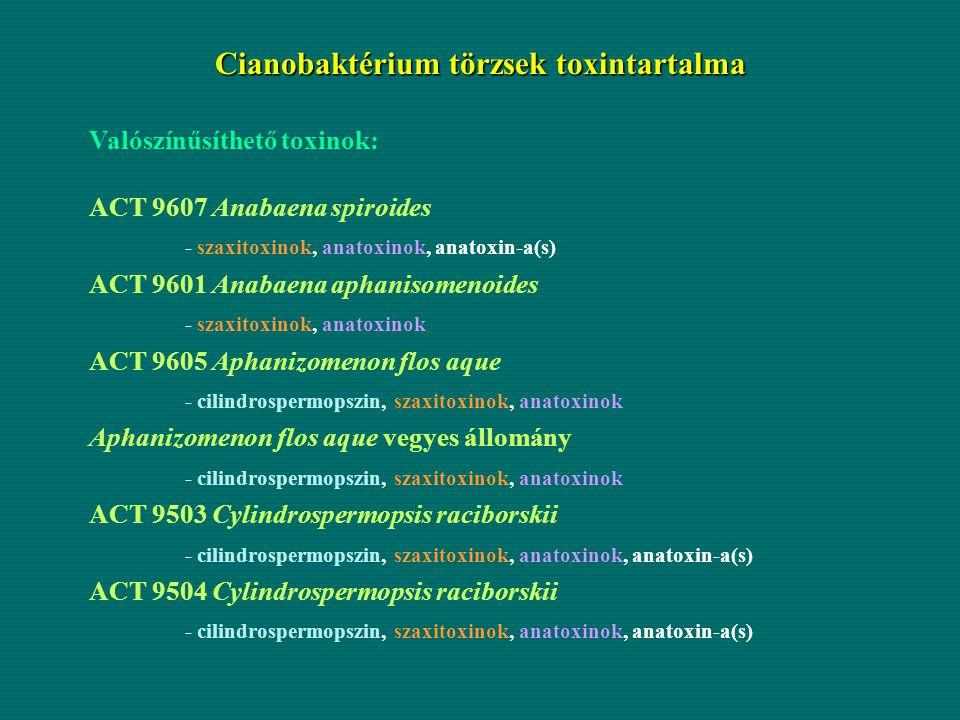 Cianobaktérium törzsek toxintartalma Valószínűsíthető toxinok: ACT 9607 Anabaena spiroides - szaxitoxinok, anatoxinok, anatoxin-a(s) ACT 9601 Anabaena
