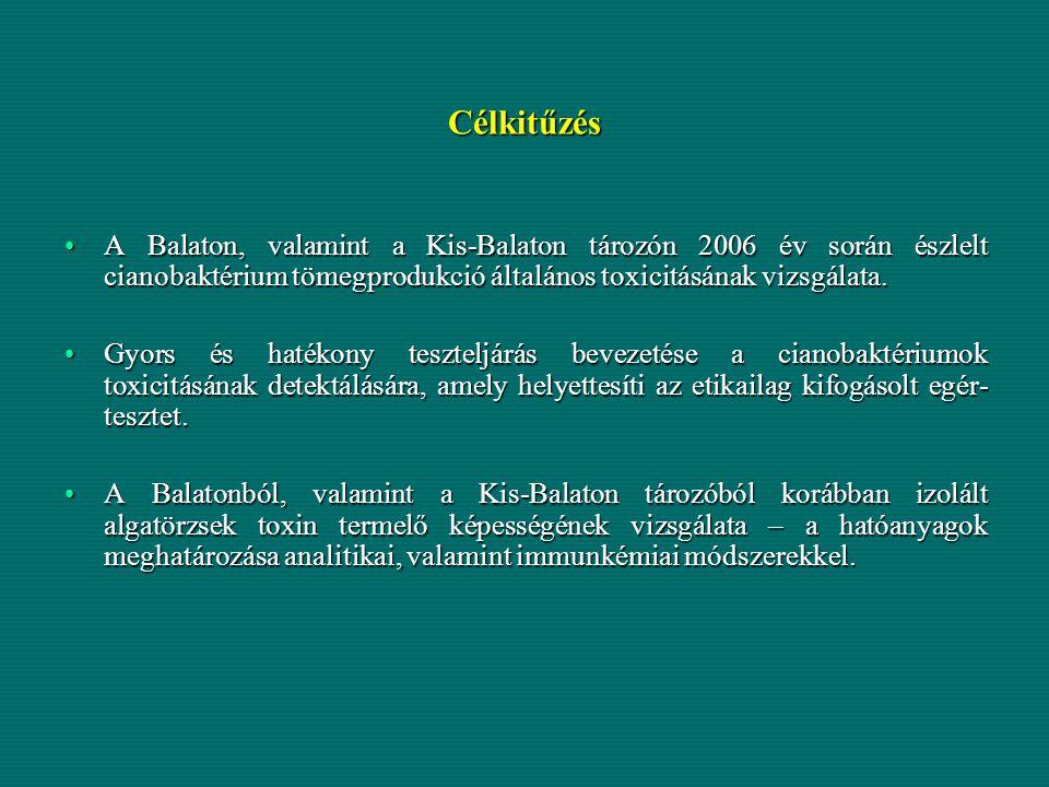 Célkitűzés A Balaton, valamint a Kis-Balaton tározón 2006 év során észlelt cianobaktérium tömegprodukció általános toxicitásának vizsgálata.A Balaton,