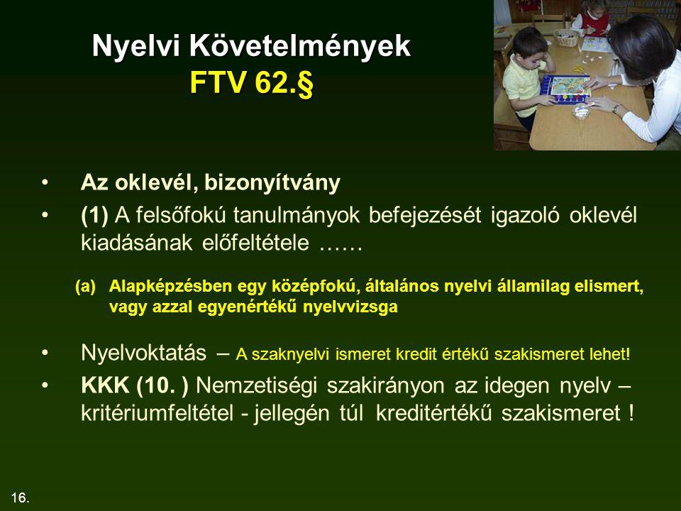 16. Nyelvi Követelmények FTV 62.§ Az oklevél, bizonyítvány (1) A felsőfokú tanulmányok befejezését igazoló oklevél kiadásának előfeltétele …… (a)Alapk