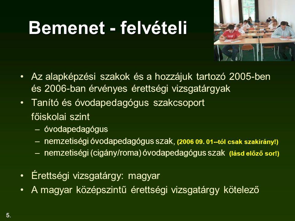 5. Bemenet - felvételi Az alapképzési szakok és a hozzájuk tartozó 2005-ben és 2006-ban érvényes érettségi vizsgatárgyak Tanító és óvodapedagógus szak