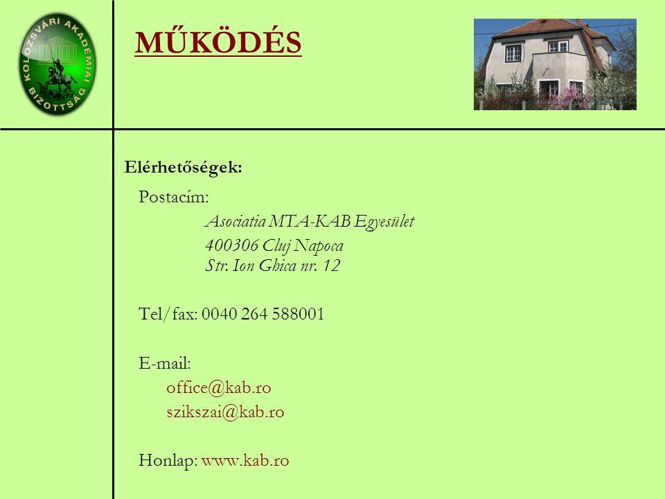MŰKÖDÉS Elérhetőségek: Postacím: Asociatia MTA-KAB Egyesület 400306 Cluj Napoca Str.