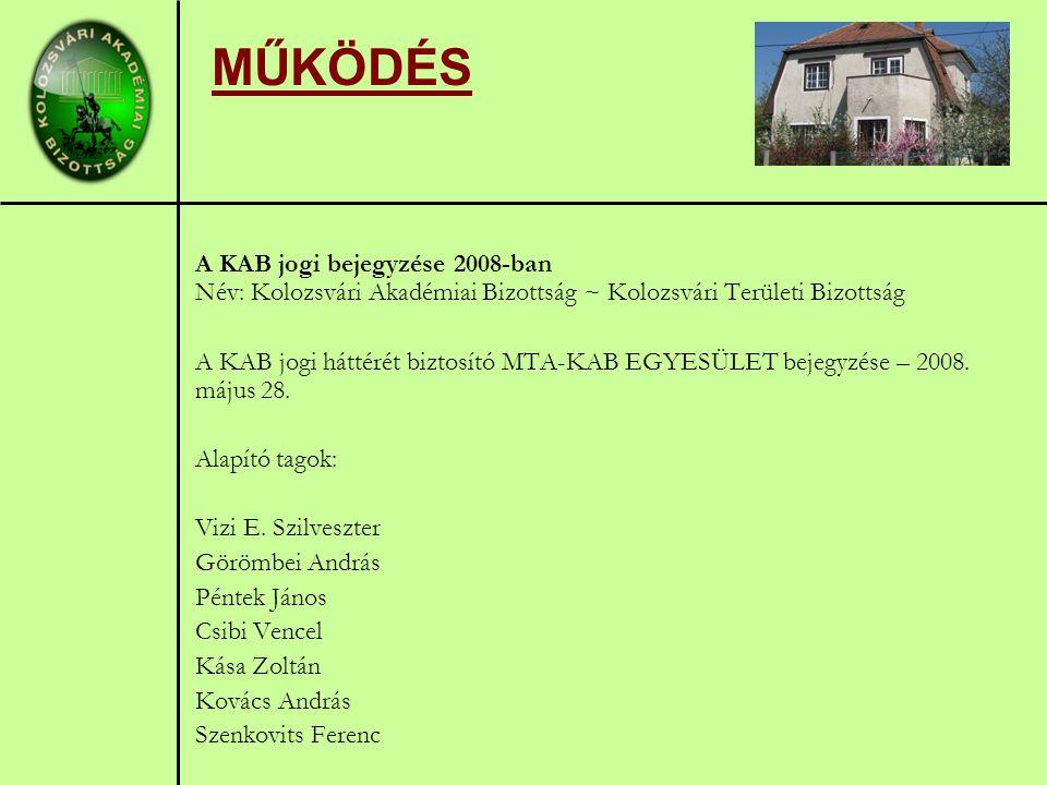 MŰKÖDÉS A KAB jogi bejegyzése 2008-ban Név: Kolozsvári Akadémiai Bizottság ~ Kolozsvári Területi Bizottság A KAB jogi háttérét biztosító MTA-KAB EGYESÜLET bejegyzése – 2008.