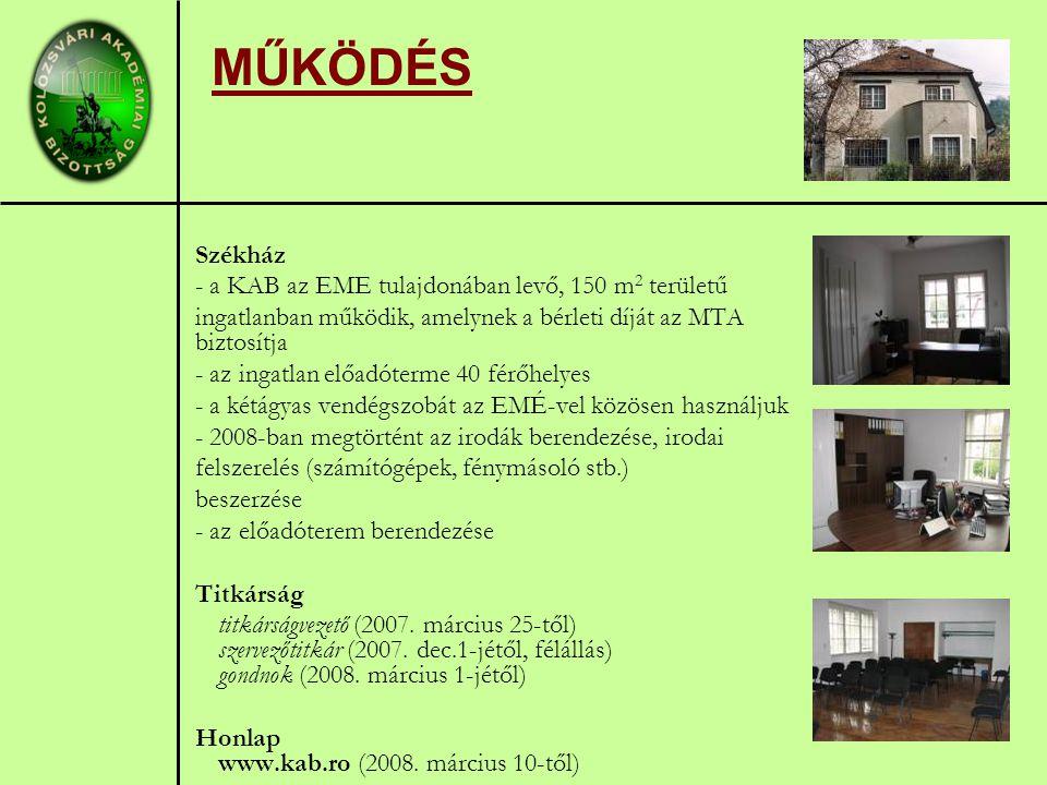 MŰKÖDÉS Székház - a KAB az EME tulajdonában levő, 150 m 2 területű ingatlanban működik, amelynek a bérleti díját az MTA biztosítja - az ingatlan előadóterme 40 férőhelyes - a kétágyas vendégszobát az EMÉ-vel közösen használjuk - 2008-ban megtörtént az irodák berendezése, irodai felszerelés (számítógépek, fénymásoló stb.) beszerzése - az előadóterem berendezése Titkárság titkárságvezető (2007.