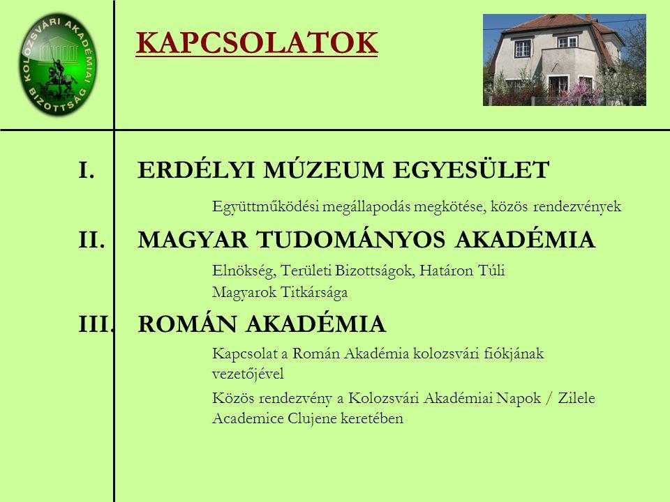 KAPCSOLATOK I.ERDÉLYI MÚZEUM EGYESÜLET Együttműködési megállapodás megkötése, közös rendezvények II.MAGYAR TUDOMÁNYOS AKADÉMIA Elnökség, Területi Bizottságok, Határon Túli Magyarok Titkársága III.ROMÁN AKADÉMIA Kapcsolat a Román Akadémia kolozsvári fiókjának vezetőjével Közös rendezvény a Kolozsvári Akadémiai Napok / Zilele Academice Clujene keretében