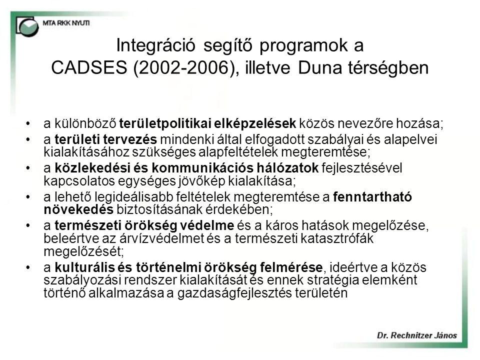 Integráció segítő programok a CADSES (2002-2006), illetve Duna térségben a különböző területpolitikai elképzelések közös nevezőre hozása; a területi tervezés mindenki által elfogadott szabályai és alapelvei kialakításához szükséges alapfeltételek megteremtése; a közlekedési és kommunikációs hálózatok fejlesztésével kapcsolatos egységes jövőkép kialakítása; a lehető legideálisabb feltételek megteremtése a fenntartható növekedés biztosításának érdekében; a természeti örökség védelme és a káros hatások megelőzése, beleértve az árvízvédelmet és a természeti katasztrófák megelőzését; a kulturális és történelmi örökség felmérése, ideértve a közös szabályozási rendszer kialakítását és ennek stratégia elemként történő alkalmazása a gazdaságfejlesztés területén
