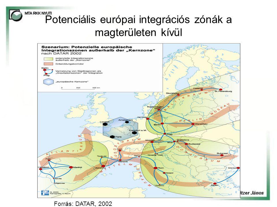 Potenciális európai integrációs zónák a magterületen kívül Forrás: DATAR, 2002