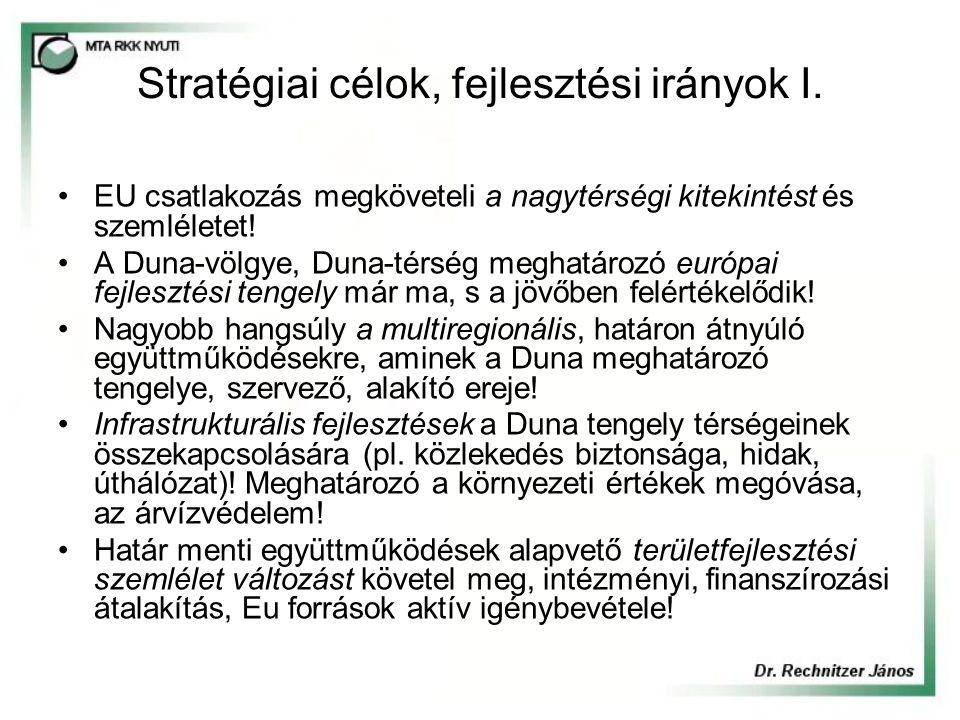 Stratégiai célok, fejlesztési irányok I.