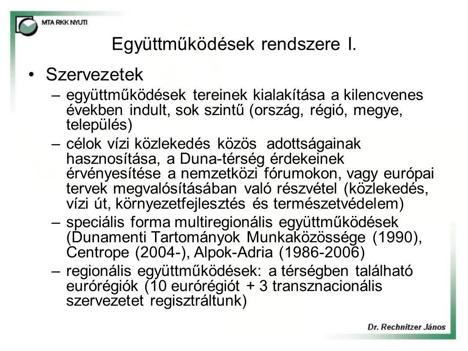 Duna Komplex Program megjelenése a regionális OP-kban és más térségi tervekben Nem jelent meg a Duna egyértelműen a regionális programokban, egyikben sem kap önálló fejezetet, nem kiemelt aktivitási irány, fejlesztési térség.