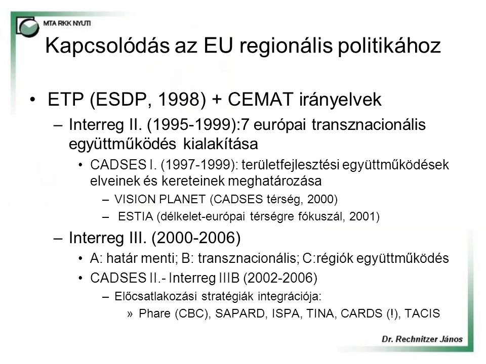 Bécs-Pozsony-Győr-Esztergom-Budapest innovációs tengely fejlesztésére ható tényezők Gyengeségek/veszélyek –a centrumokban már kimutatható a munkaerőhiány, tágulnak az ingázási határok, romlik a munkaerő minősége, –térségen belül mérsékelt még a hazai beszállítói kapcsolatok, tömegtermelésre szakosodott egységek, kitettek a konjunkturális hatásoknak, kutatás-fejlesztés hiányos, belső megújítás forrásai, intézményei erőtlenek, –a kis és középvállalkozók még nem fűződtek fel a nagyipari bázisra, az eddigi helyi gazdaságfejlesztés erről a szektorról nem vett tudomást, –a centrumok nem működnek együtt, inkább versenyeznek az erőforrásokért (ipari parkok) és a letelepülőkért, gyengék a kapcsolatok a perifériákkal, –nincs egységes és összehangolt tengelyfejlesztési koncepció, a jövőben két nagyközpont (Bécs-Pozsony, Budapest) fogja alakítani a fejlődési zónát, nem összehangolt fejlesztések, számos konfliktus forrás, –belső közlekedési kapcsolatok rosszak, szomszédsági relációk szűk keresztmetszetei (hidak és az erősen terhelt belső utak, elkerülők hiánya), –megoldatlan feszültség források pl.