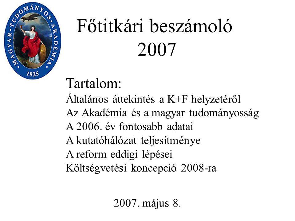 Főtitkári beszámoló 2007 2007. május 8.