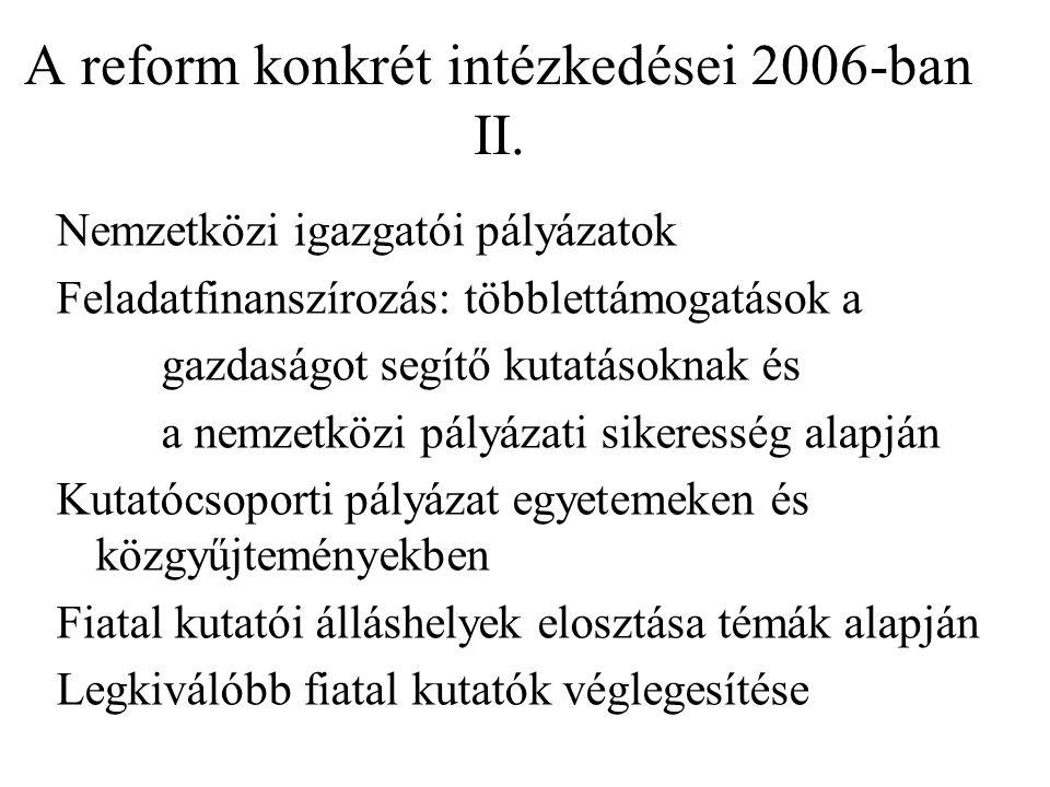 A reform konkrét intézkedései 2006-ban II.