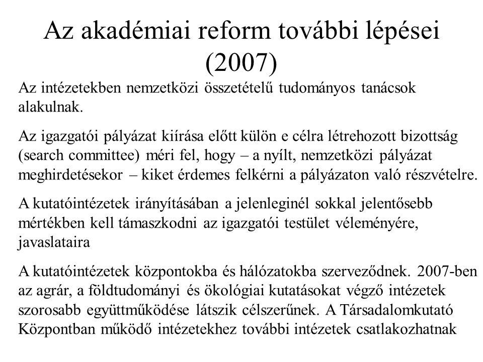 Az akadémiai reform további lépései (2007) Az intézetekben nemzetközi összetételű tudományos tanácsok alakulnak.