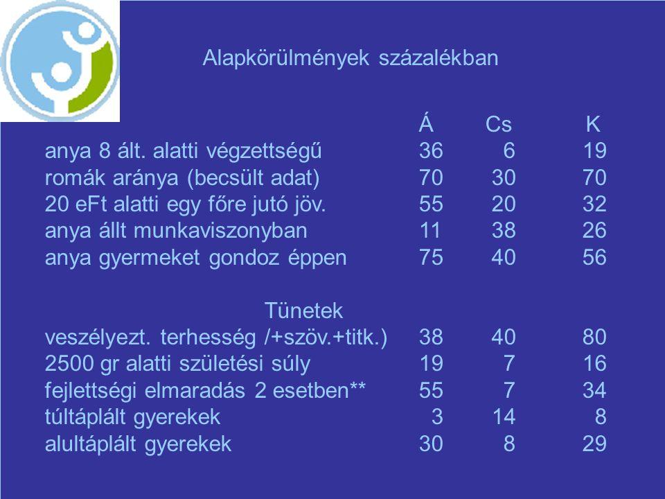 Alapkörülmények százalékban ÁCs K anya 8 ált.