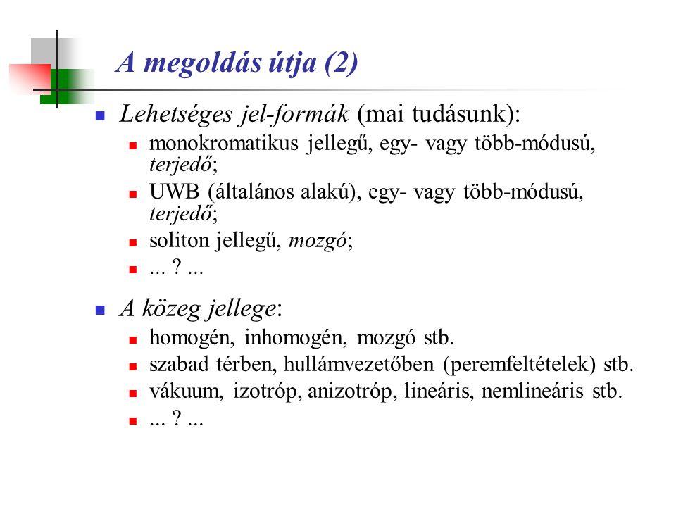 Lehetséges jel-formák (mai tudásunk): monokromatikus jellegű, egy- vagy több-módusú, terjedő; UWB (általános alakú), egy- vagy több-módusú, terjedő; s