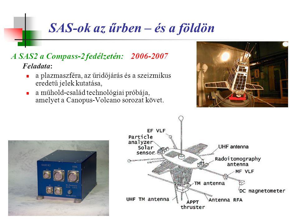 SAS-ok az űrben – és a földön A SAS2 a Compass-2 fedélzetén:2006-2007 Feladata: a plazmaszféra, az űridőjárás és a szeizmikus eredetű jelek kutatása,