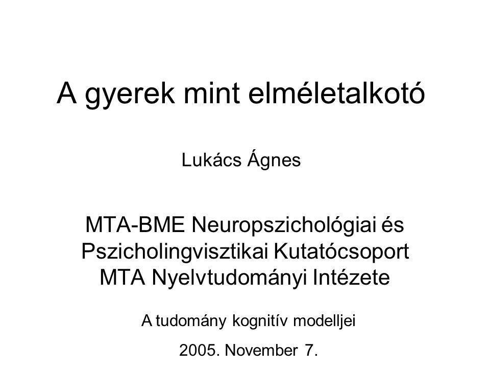 A gyerek mint elméletalkotó MTA-BME Neuropszichológiai és Pszicholingvisztikai Kutatócsoport MTA Nyelvtudományi Intézete A tudomány kognitív modelljei