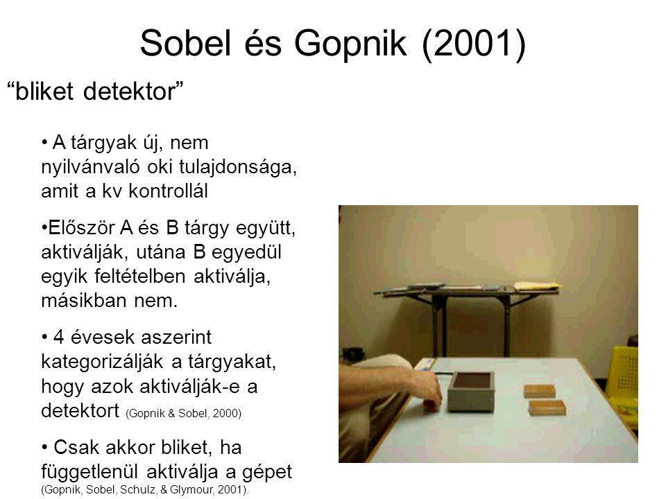 """Sobel és Gopnik (2001) """"bliket detektor"""" A tárgyak új, nem nyilvánvaló oki tulajdonsága, amit a kv kontrollál Először A és B tárgy együtt, aktiválják,"""
