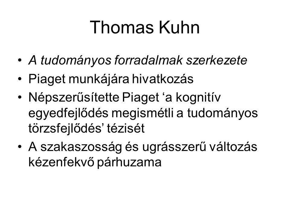 Thomas Kuhn A tudományos forradalmak szerkezete Piaget munkájára hivatkozás Népszerűsítette Piaget 'a kognitív egyedfejlődés megismétli a tudományos t