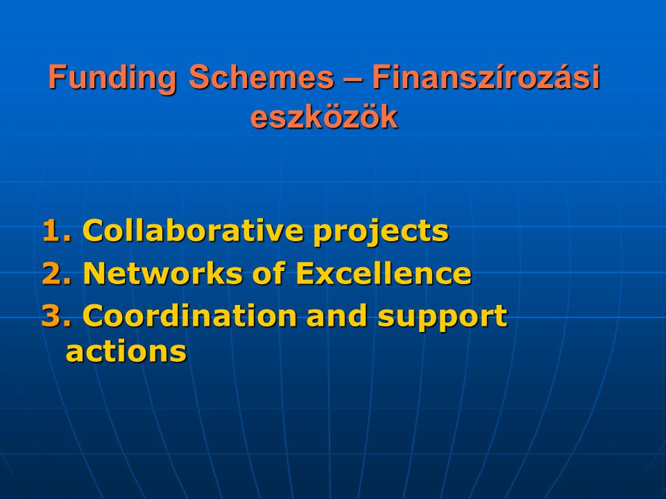 Funding Schemes – Finanszírozási eszközök 1. Collaborative projects 2. Networks of Excellence 3. Coordination and support actions