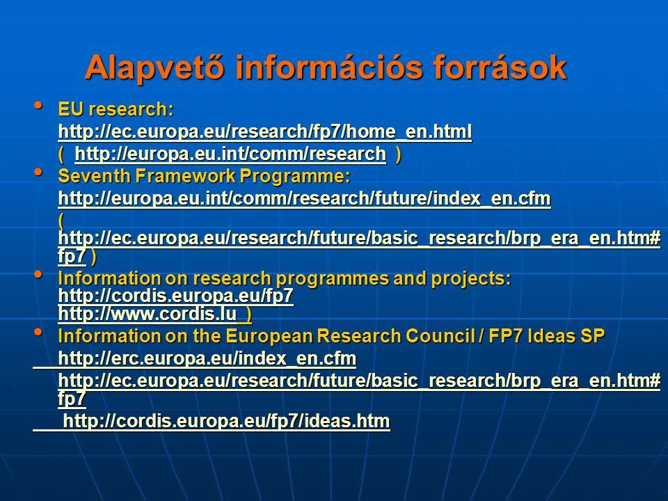 Alapvető információs források EU research: EU research: http://ec.europa.eu/research/fp7/home_en.html ( http://europa.eu.int/comm/research ) http://eu