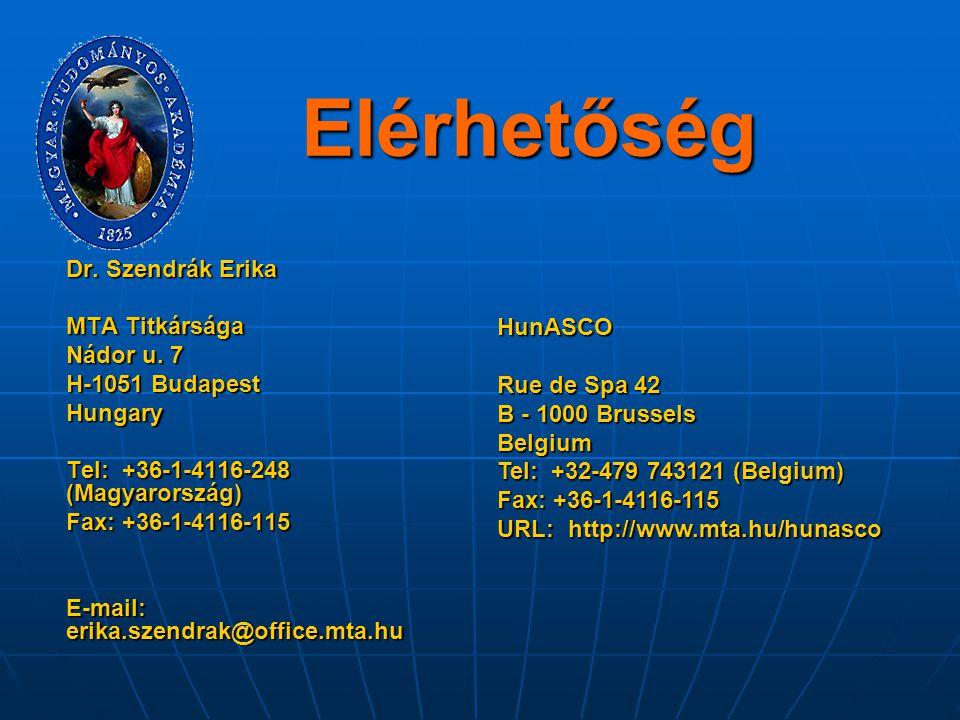 Elérhetőség Dr. Szendrák Erika MTA Titkársága Nádor u. 7 H-1051 Budapest Hungary Tel: +36-1-4116-248 (Magyarország) Fax: +36-1-4116-115 E-mail: erika.