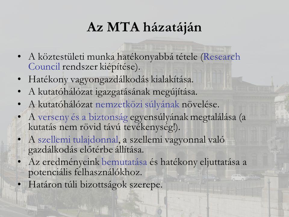 Az MTA házatáján A köztestületi munka hatékonyabbá tétele (Research Council rendszer kiépítése).