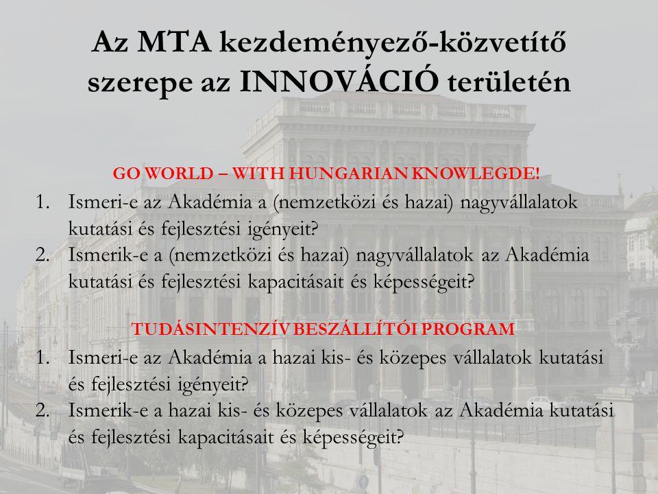 Az MTA kezdeményező-közvetítő szerepe az INNOVÁCIÓ területén GO WORLD – WITH HUNGARIAN KNOWLEGDE.