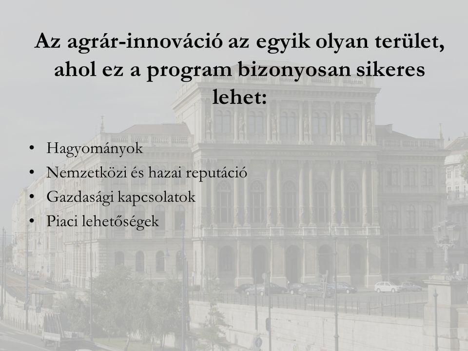 Az agrár-innováció az egyik olyan terület, ahol ez a program bizonyosan sikeres lehet: Hagyományok Nemzetközi és hazai reputáció Gazdasági kapcsolatok Piaci lehetőségek