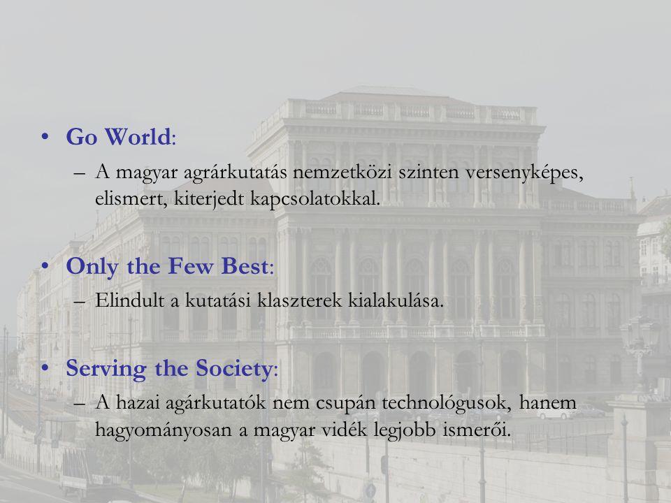 Go World: –A magyar agrárkutatás nemzetközi szinten versenyképes, elismert, kiterjedt kapcsolatokkal.