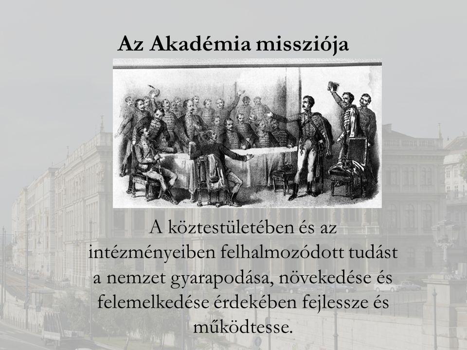 Az Akadémia missziója A köztestületében és az intézményeiben felhalmozódott tudást a nemzet gyarapodása, növekedése és felemelkedése érdekében fejlessze és működtesse.