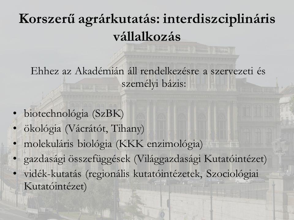 Korszerű agrárkutatás: interdiszciplináris vállalkozás Ehhez az Akadémián áll rendelkezésre a szervezeti és személyi bázis: biotechnológia (SzBK) ökológia (Vácrátót, Tihany) molekuláris biológia (KKK enzimológia) gazdasági összefüggések (Világgazdasági Kutatóintézet) vidék-kutatás (regionális kutatóintézetek, Szociológiai Kutatóintézet)